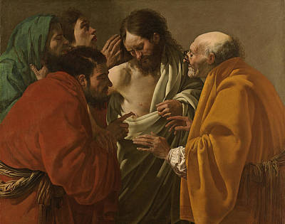 Incredulity Painting - The Incredulity Of Saint Thomas by Hendrick ter Brugghen