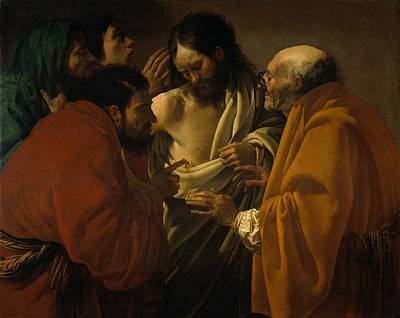 Incredulity Painting - The Incredulity Of St. Thomas by Hendrick ter Brugghen