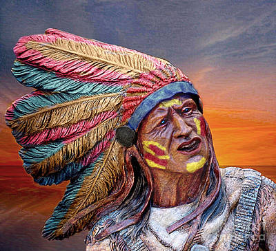 Mixed Media - The Indian Chief by Ian Gledhill