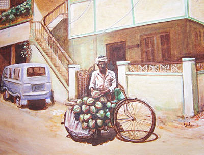 Cycles Painting - The Indian Tendor-coconut Vendor by Usha Shantharam