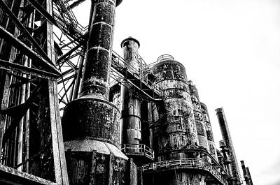 The Industrial Age At Bethlehem Steel In Black And White Art Print by Bill Cannon