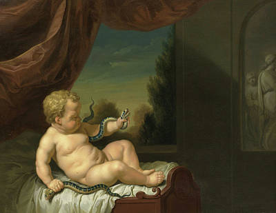 Hera Painting - The Infant Hercules With A Serpent by Pieter Van Der Werff