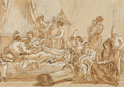 Drawing - The Infant Punchinello In Bed With His Parents by Giovanni Domenico Tiepolo