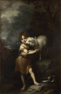 Boy Painting - The Infant Saint John With The Lamb by MotionAge Designs