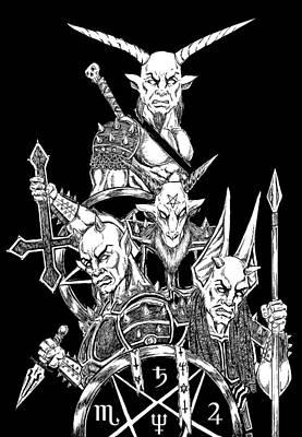 The Infernal Army Black Version Art Print by Alaric Barca