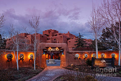 Luminaria Photograph - The Inn At Loretto At Twilight - Santa Fe New Mexico by Silvio Ligutti