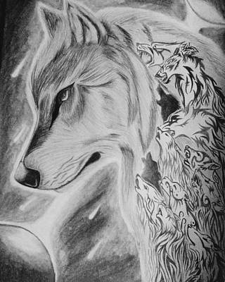 Crying Drawing - The Inner Wolfs Cry by Rina Shaw