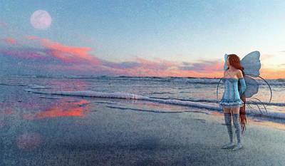 Beach Sunset Digital Art - The Innocence Moon  by Betsy Knapp