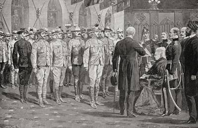 The Inspection Of Colonial Soldiers At Art Print by Vintage Design Pics