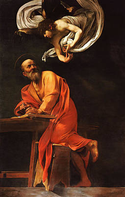 Angel Art Painting - The Inspiration Of Saint Matthew by Caravaggio