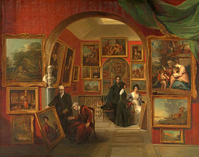 Painting - The Interior Of The British Institution Gallery by John Scarlett Davis