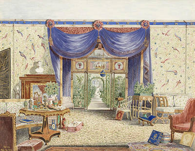 Drawing - The Interior Of The Chinese Room, Looking Toward The Conservatory, Middleton Park, Oxfordshire by William Alfred Delamotte