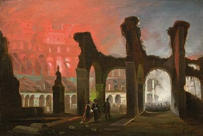 Fireworks Painting - The Interior Of The Colosseum Illuminated by MotionAge Designs