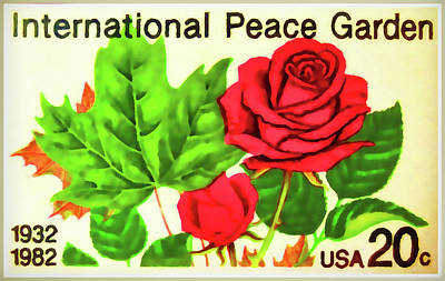 The International Peace Garden Stamp Art Print by Lanjee Chee