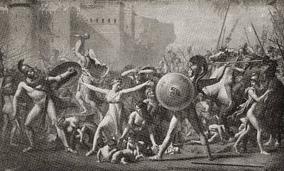 The Intervention Of The Sabine Women Art Print by Vintage Design Pics