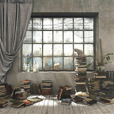 Reading Digital Art - The Introvert by Cynthia Decker
