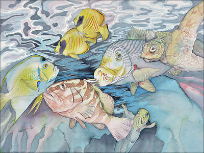 Ocean Turtle Painting - The Intruder by Liduine Bekman