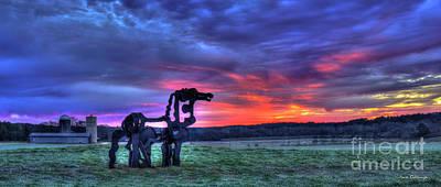 Photograph - The Iron Horse Panorama Sunrise Georgia Farm Art by Reid Callaway