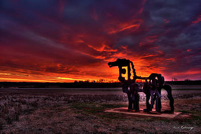 Photograph - The Iron Horse Red Sky Sunset by Reid Callaway