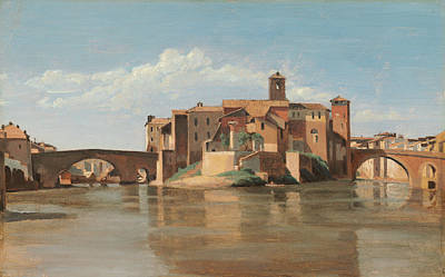 Townscape Painting - The Island And Bridge Of San Bartolomeo, Rome by Camille Corot