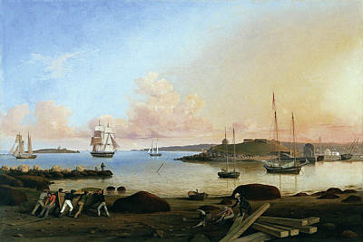 Painting - The Island And Fort Of Ten Pound Gloucester By Fitz Henry Lane 1847 by Fitz Henry Lane
