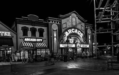 Pigeon Forge Photograph - The Island Arcade In Black And White by Greg Mimbs