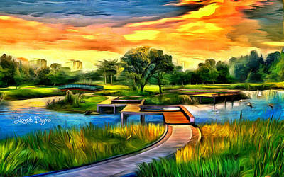 Large Painting - The Island by Leonardo Digenio