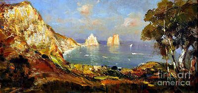 Painting - The Island Of Capri And The Faraglioni by Rosario Piazza