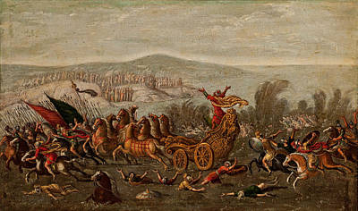 Crossing Of The Red Sea Painting - The Israelites Crossing The Red Sea by Circle of Juan de la Corte