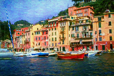 Portofino Italy Painting - The Italian Fishing Village Of Portofino by Mitchell R Grosky