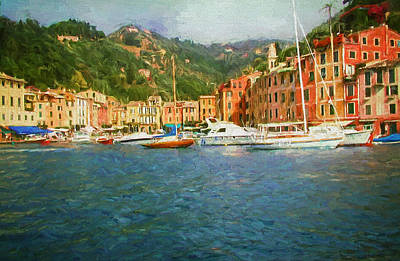 Painting - The Italian Village Of Portofino by Mitchell R Grosky