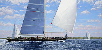 Painting - The J Class Racing At Falmouth, 2015 by Mark Woollacott