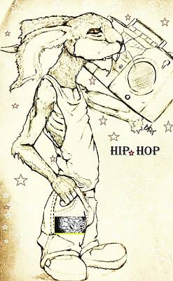 Hip Drawing - the Jack rabbit of hip hop  by Brian  Brown