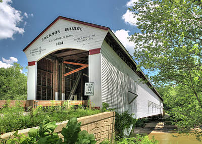 The Jackson Covered Bridge Art Print by Harold Rau