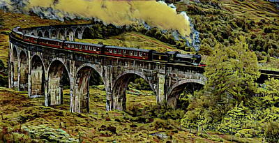 Potter Digital Art - The Jacobrite At Glenfinnan Viaduct by Russ Harris