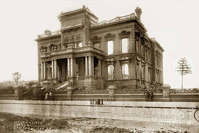Photograph - The James C. Flood Mansion On Nob Hill April 1906 by California Views Mr Pat Hathaway Archives