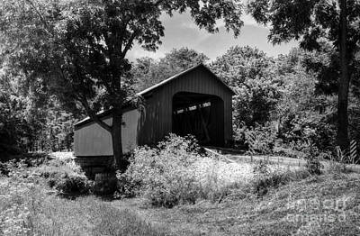 Photograph - The James Covered Bridge Bw by Mel Steinhauer
