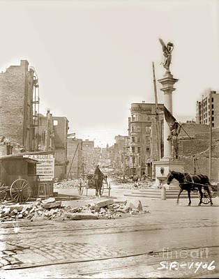 Photograph - The James D. Phelan Monument  San Francisco After The 1906 Earthquake by California Views Mr Pat Hathaway Archives