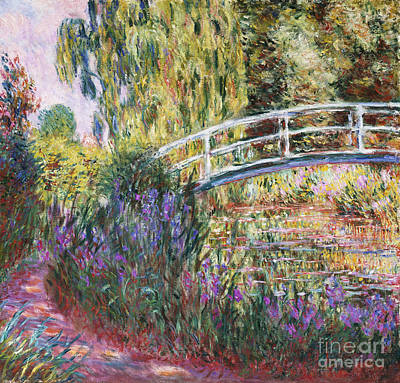 Tree Oil Painting - The Japanese Bridge by Claude Monet