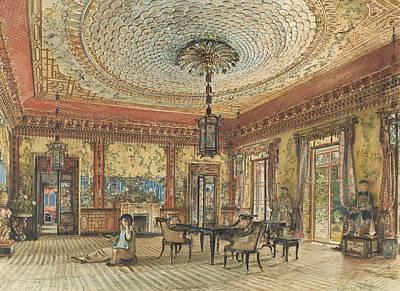 Villa Painting - The Japanese Salon, Villa Hugel, Hietzing, Vienna by Rudolf von Alt