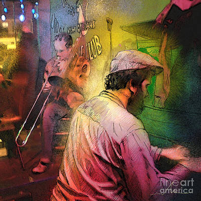 Painting - The Jazz Vipers In New Orleans 01 by Miki De Goodaboom