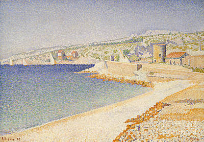Summery Painting - The Jetty At Cassis by Paul Signac