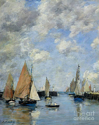 Harbor Scene Wall Art - Painting - The Jetty At High Tide by Eugene Louis Boudin