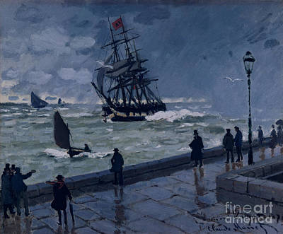 Wet Painting - The Jetty At Le Havre In Bad Weather by Claude Monet