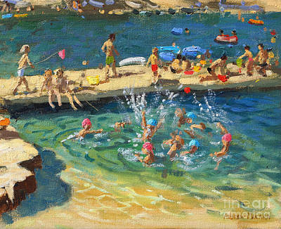 People On Beach Wall Art - Painting - The Jetty, Rovinj, Croatia by Andrew Macara