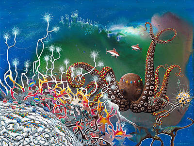 The Jeweled Octopus Art Print by Lee Pantas