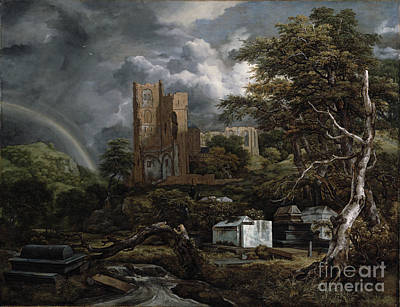 Grave Yards Painting - The Jewish Cemetery by Jacob Isaaksz Ruisdael