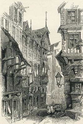 Ghetto Drawing - The Jewish Quarter, Frankfurt Am Main by Vintage Design Pics