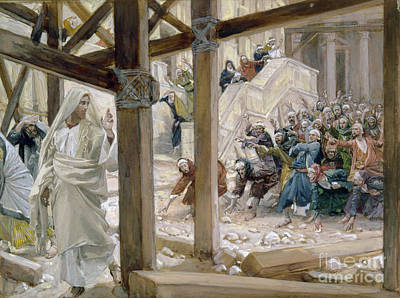 The Jews Took Up Stones To Cast At Him Art Print by Tissot