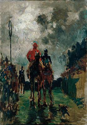 Amusement Ride Painting - The Jockeys by Henri de Toulouse-Lautrec